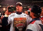 Atlanta Braves Chipper Jones drinks champagne after the Braves defeated the St. Louis Cardinals 15-0 in Game 7 of the National League Championship Series in Atlanta Thursday, Oct. 17, 1996. The Braves won the NLCS and will face the New York Yankees in the World Series. (AP Photo/John Bazemore)